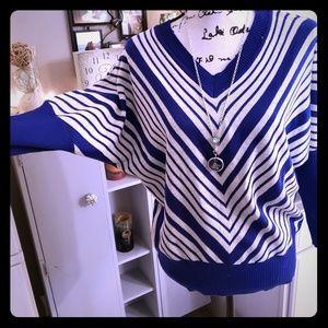 👑NWT Royal Blue & White Striped Dolman Sweater👑